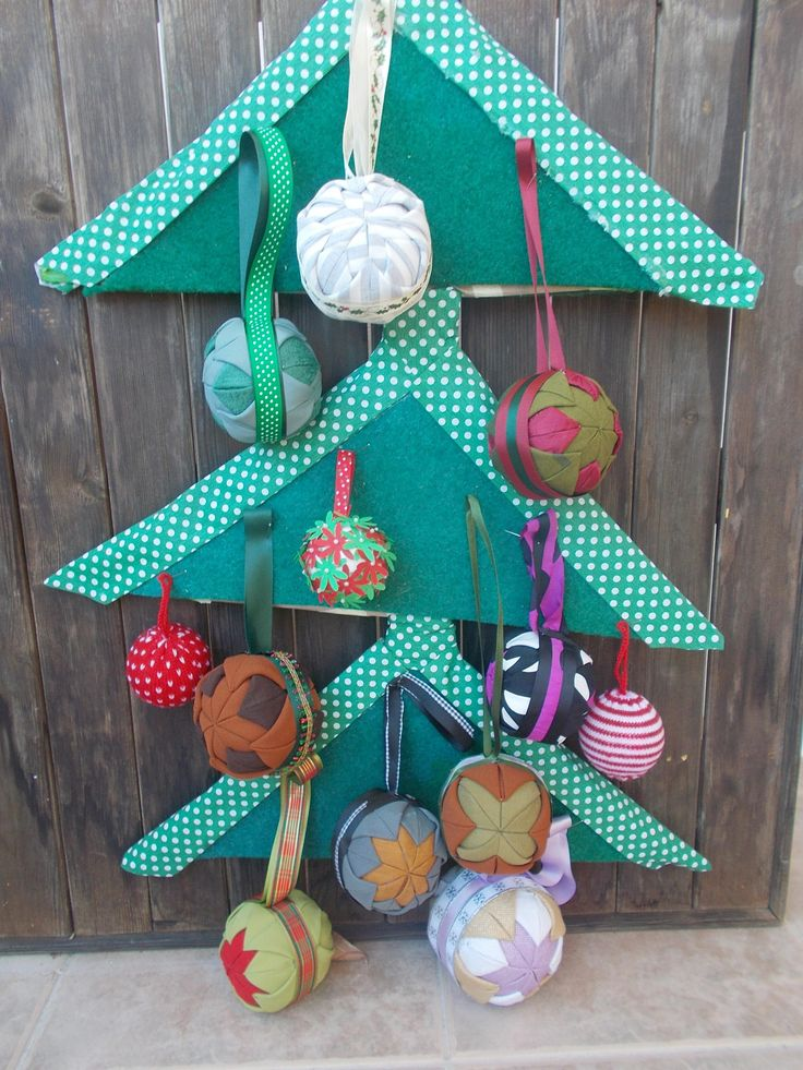 fabric xmas balls, ornaments handmade by mademeathens, holiday decor #etsygifts #fabricornaments