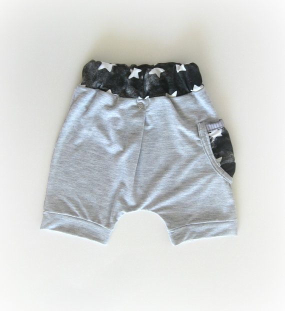 Boy harem shorts Trendy baby pants Grey with black and by bugnbee, $19.00