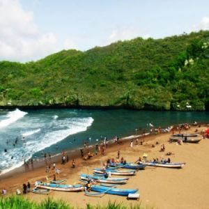 view from the top at baron beach yogyakarta indonesia