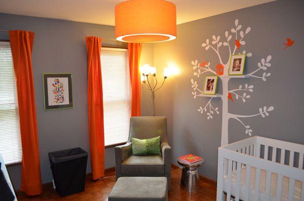 Love the orange curtains on grey walls!