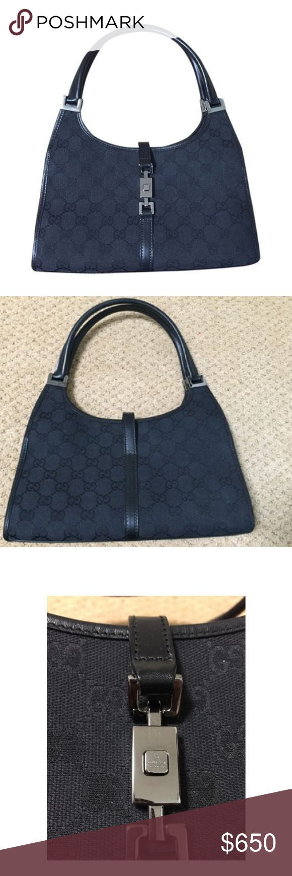Gucci Bardot handbag (part 1 of 2) Black GG canvas Gucci Bardot bag with rolled top handles, leather trim, silver-tone hardware, interior zip pocket and front piston lock closure. Great condition as only used a few times. There is slight leather aging on the strip of leather along the back (see pic) otherwise looks like new. Made in Italy.  Size 10 x 2.5 x 6 inches.  See part 2 of 2 for more images. Ship priority mail. No tax Gucci Bags