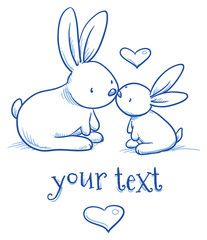 Cute baby bunny and adult cuddling, kissing, for easter or baby shower card. Han…