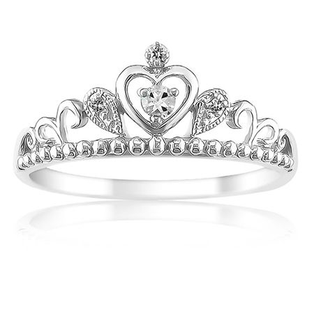 Princess Diamond Tiara Ring in Sterling Silver