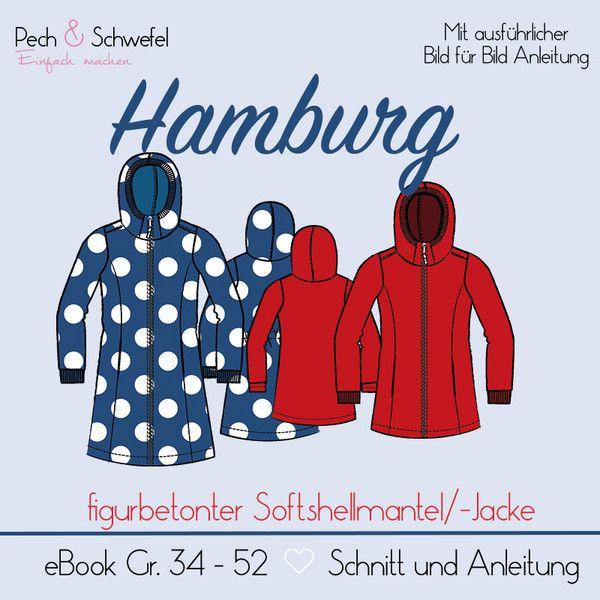 """Nähanleitungen Mode - Schnittmuster Mantel """"Hamburg"""" Gr. 34 – 52  A4/A0 - ein Designerstück von Naehen-mit-Pech-und-Schwefel bei DaWanda"""