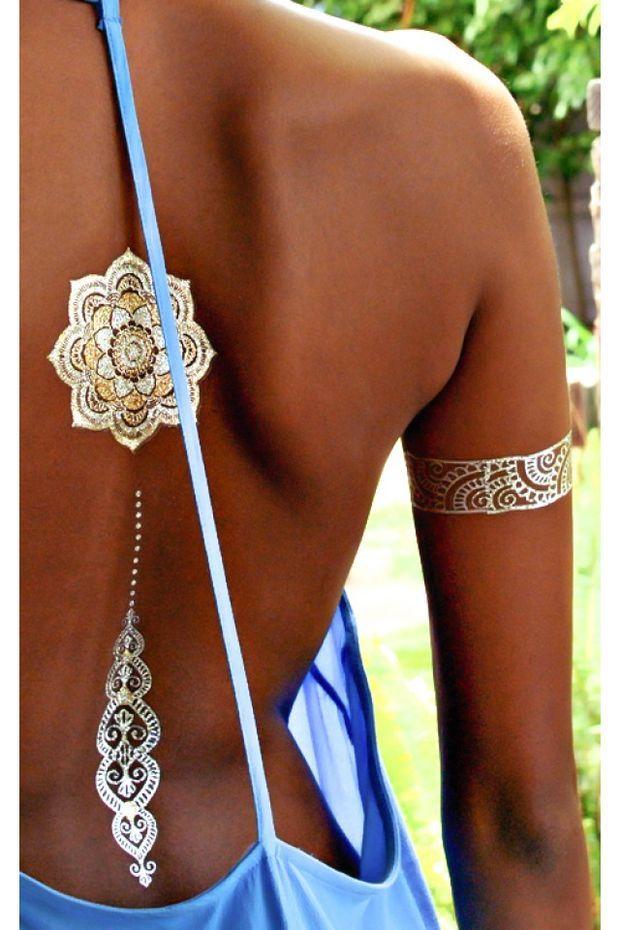 Sheebani Flash Tattoos in gold | SHOWPO Fashion Online Shopping