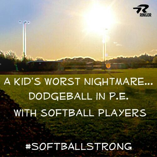 Warning, proceed with caution: Softball players playing dodgeball!
