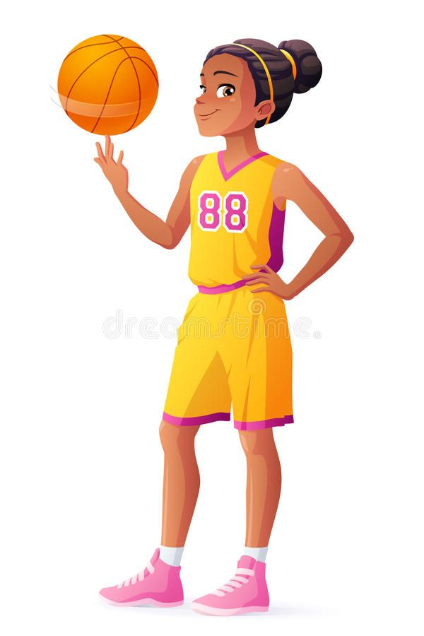 Illustration About Cute Young African Ethnicity Young Basketball