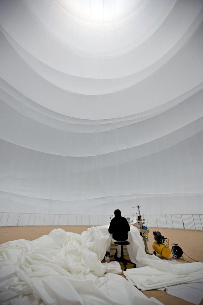 Working on construction of Christo's Big Air Package at Gasometer Oberhausen, Germany - February 2013.