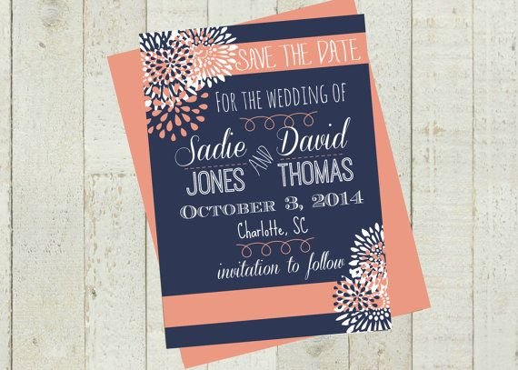 Blue And Coral Wedding Invitations: Save The Date, Navy Blue And Coral Flower, Digital File