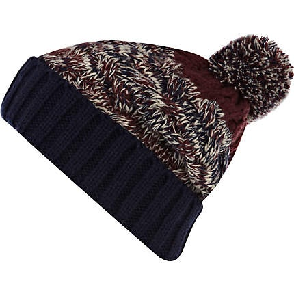 Dark red and navy twist chunky bobble hat - hats - accessories - men