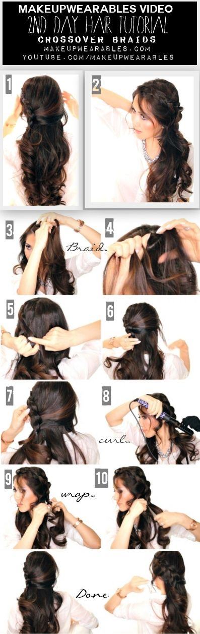Quick & Easy Second Day #Hair | Crossover Braid, Half-Up, Half-Down #Hairstyles | #Tutorial Video  #updos #longhair #style #fashion #styles #beauty #braid #braids