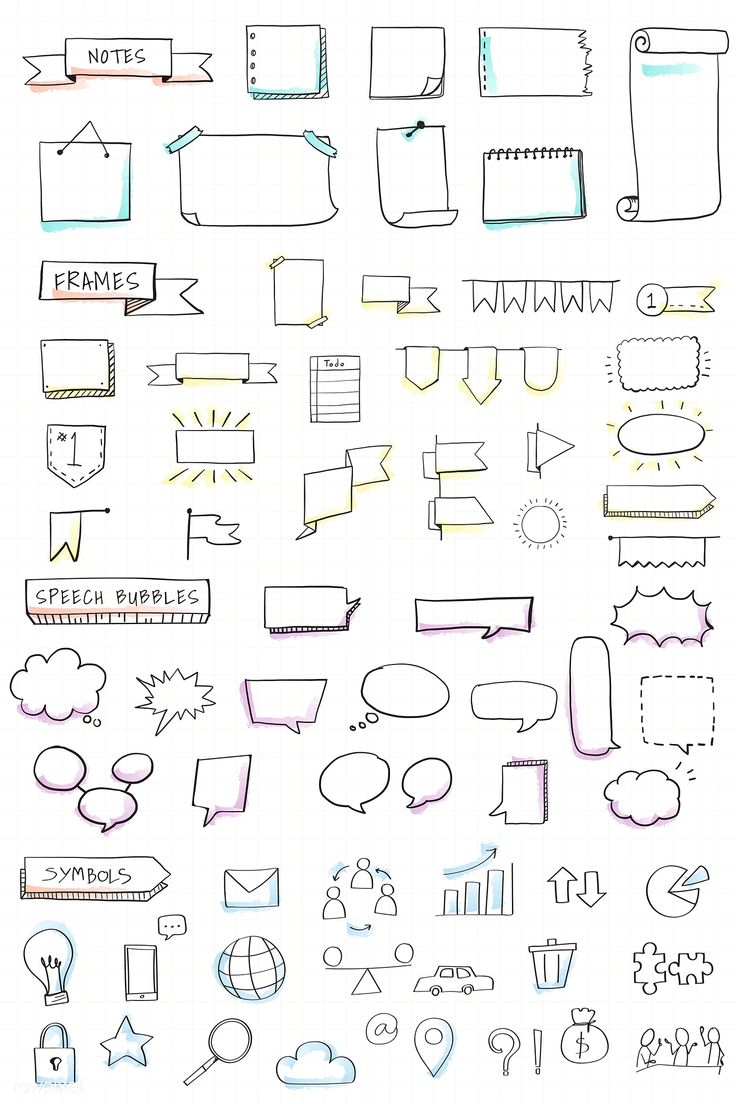 Download premium illustration of Hand drawn visual thinking elements