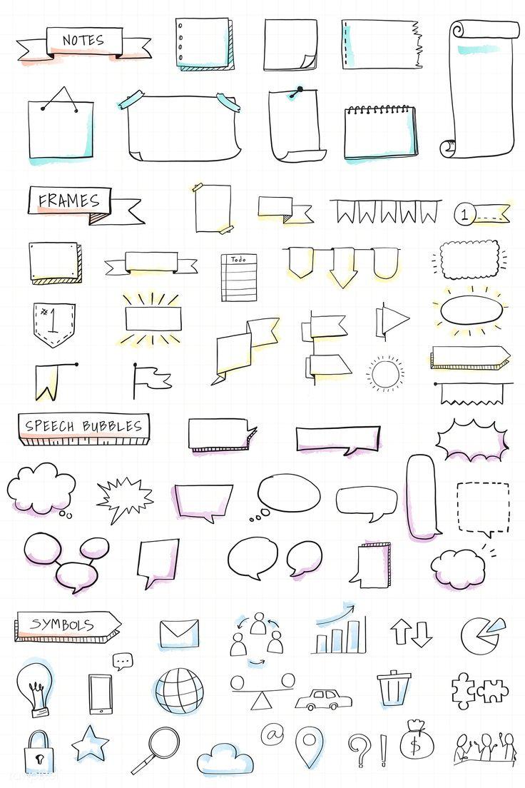 Download premium vector of Hand drawn visual thinking elements vector set