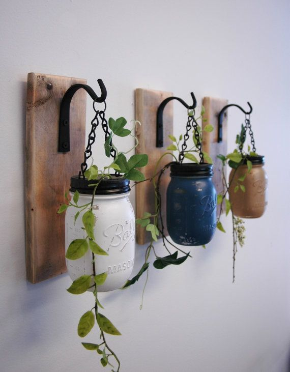 Individual Hanging Painted Mason Jar Wall Decor mounted to recycled wood board with wrought iron hooks on Etsy, $38.00