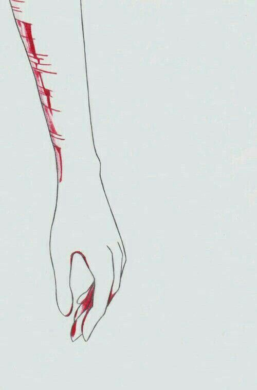 I cut the pain from my soul,and paint with the blood that comes out. To forget what really happened to me.