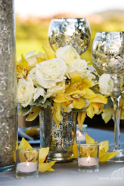 42 best images about yellow centerpiece ideas on pinterest for Yellow flower centerpiece ideas