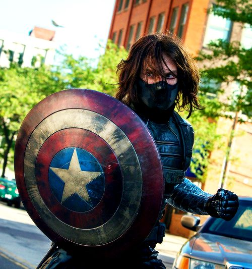 Sebastian Stan as The Winter Soldier in Captain America: The Winter Soldier. I love his evil eyes.