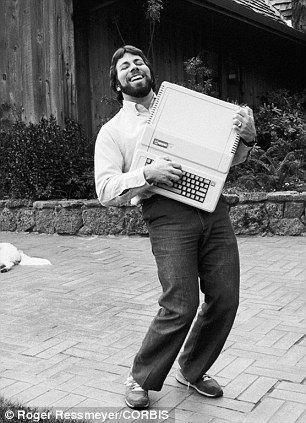 1983: Steve Wozniak holds an Apple IIe, a variation on his best-selling Apple II
