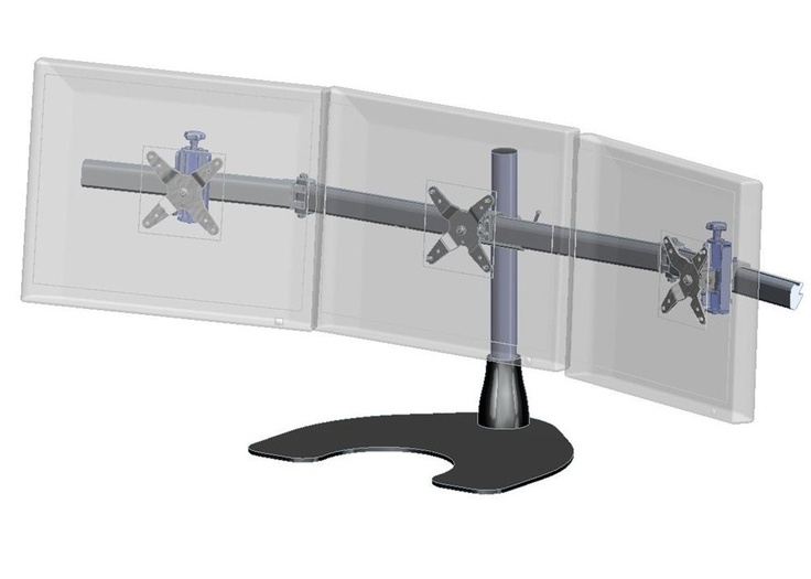 Ergotech Triple Horizontal Lcd Monitor Arm Desk Stand 100