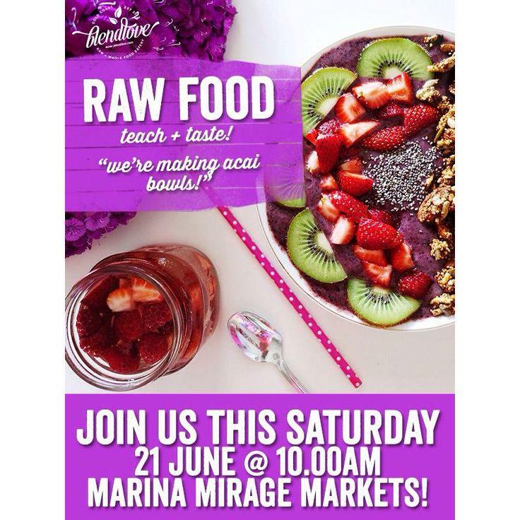 The Raw Food team from Blendlove are holding free teach & taste at Marina Mirage Farmers Markets tomorrow. The Marina Mirage Markets are on every Saturday from 7am - 11am with plenty of undercover parking available. www.marinamirage.com.au #farmersmarketgoldcoast #saturdaymarket Blendlove #acai #acaibowls #farmfresh #locallygrown #rawfood #vegan #glutenfree #freerange #organic #marinamirage #goldcoast #marinagoldcoast #boatingstyle #shopdinemarket