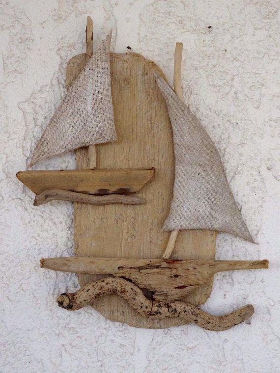 Natural Hanging Driftwood Sailboat Set  Summer by SteliosArt