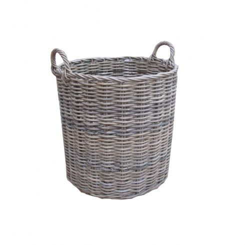 grey wicker basket | Home › Log Baskets › Grey & Buff Rattan Round Wicker Log Basket