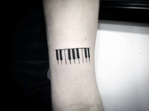Small Simple Piano Keys With Black Ink Outline Guys Forearm Tattoo