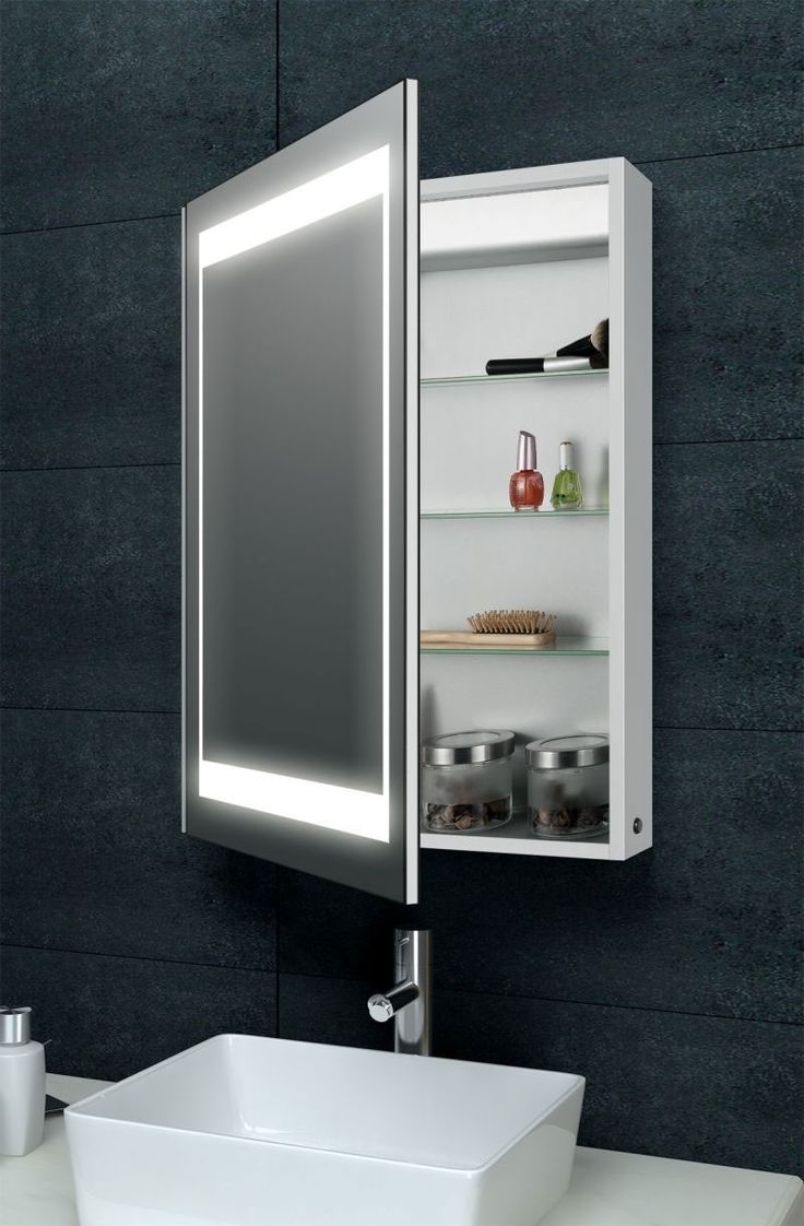 Bathroom mirrors with storage - Laura Aluminium Backlit Mirrored Bathroom Cabinet