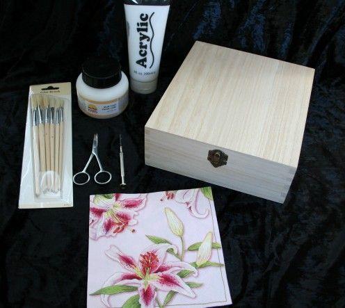 houten doos met servetten bekleden... tutorial