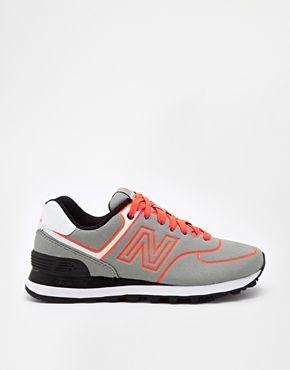 ... New Balance - 574 - Baskets - Gris et orange fluo