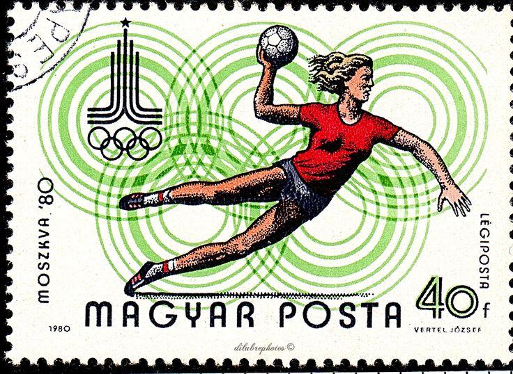 Hungary.  WOMEN'S HANDBALL, MOSCOW '80 EMBLEM, OLYMPIC RINGS.  Scott AP106 C418, Issued 1980  June 16, Photo., Perf. 11 1/2 x 12, .40. /ldb.