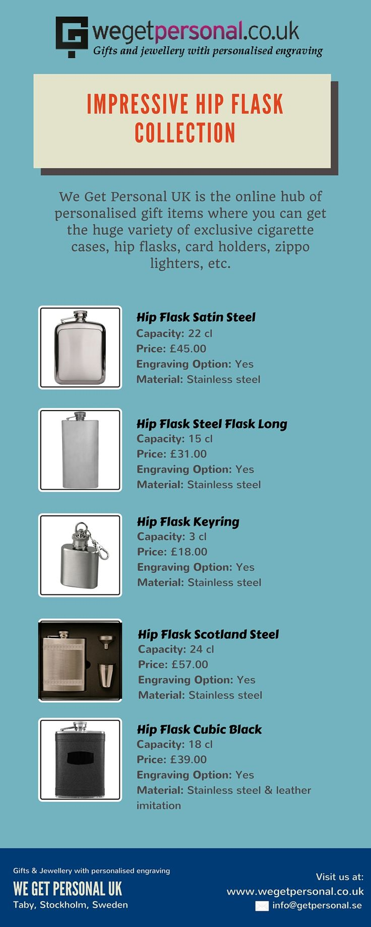 Gift personalised products to your loved ones which can be engraved by your choice of text, font and size. We Get Personal UK offers variety of personalised items and hip flasks are one of them. Add your personal touch by getting it engraved. Shop for your favorite personalised items by visiting us at wegetpersonal.co.uk  #hipflask #personalisedhipflask #engravedhipflask