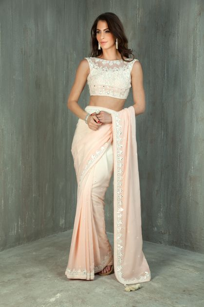 W15-43 - Shaded georgette saree with net blouse embellished with resham, mirror and sequins work