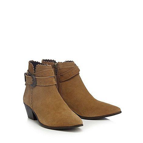 Nine by Savannah Miller Tan suede mock buckle studded ankle boots | Debenhams