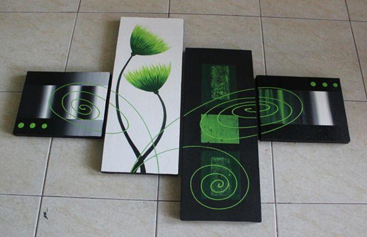 Lukisan Abstrak Bunga Hijau 1 Set