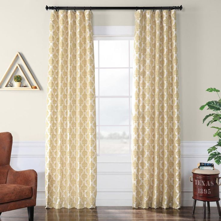 Exclusive Fabrics & Furnishings Beatrice Champagne Beige Flocked Faux Silk Curtain – 50 in. W x 120 in. L-PTFFLK-C37-120