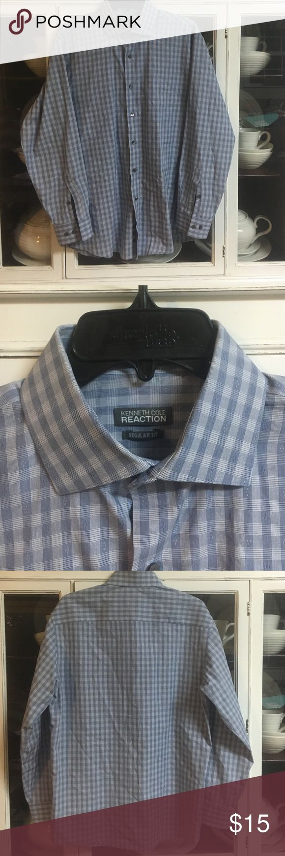 NWOT Men's Kenneth Cole Reaction Blue Plaid Shirt NWOT- doesn't fit my fiancé! I absolutely love this shirt! In perfect condition. Kenneth Cole Reaction Shirts Dress Shirts