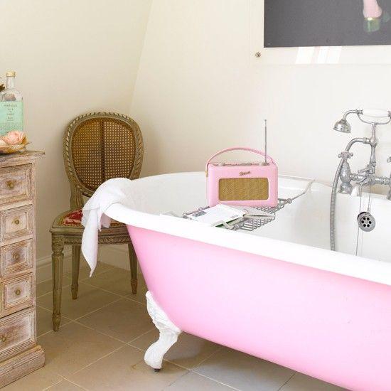waterproof radio for the bathroom: Idea, Bath Tubs, Pink Tubs, Clawfoot Tubs, Retro Radios, Claws Foot, House, Pink Bathtubs, Pink Bathroom