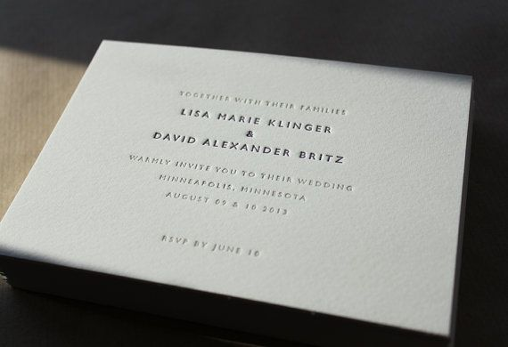 Letterpress Wedding Invitations // Classic Wedding by MapleTea, £3.50