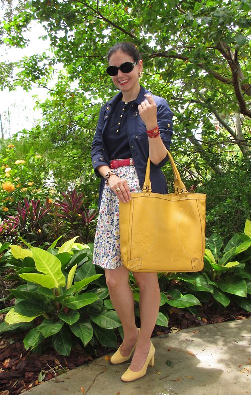 Ralph Lauren Cotton Henley and Windbreaker; Banana Republic Cotton Skirt & Belt; Cole-Haan Leather Bag; Ann Taylor Shoes; Longines Ferrari Watch; Vince Camuto Link Bracelet; House of Harlow Sunglasses.  Floral happiness for a rainy day!  http://www.akeytothearmoire.com/post/25502228449/vintage-botanical