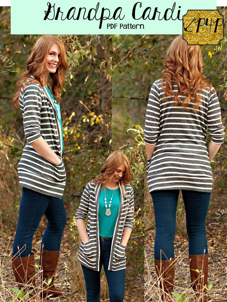 Patterns for Pirates PDF sewing grandpa cardigan classic short, 3/4 mid, long sleeve, shirt and Tunic length, patch pockets, traditional and shawl collar, youth and women's plus ladies juniors teens, teens boys, unisex, girls, sweater, elbow patches, cute, mommy and me matching