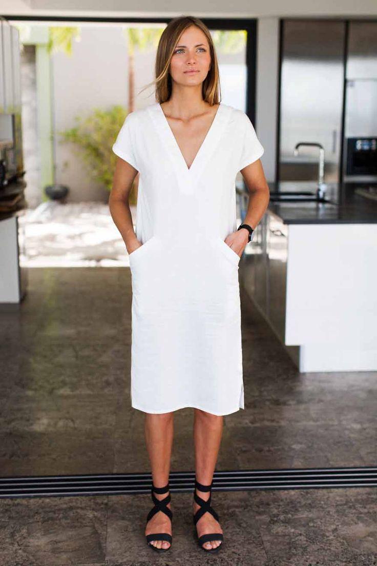 Emerson Fry | Emily V-Neck Column Dress in Chalk (White) SS15 http://www.emersonfry.com/v-column-dress-chalk