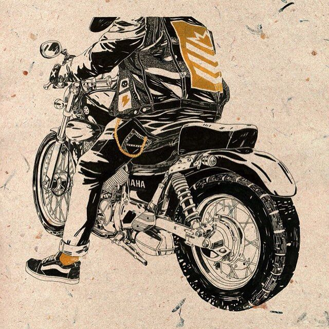 """'Hard & Heavy' one of those, """"I loved every minute of it"""" drawings. #motorcycles #yamaha #black #ink #nvmillustration #fast #hard"""