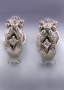 Diamond Earrings - Engraved Antique Style $1195