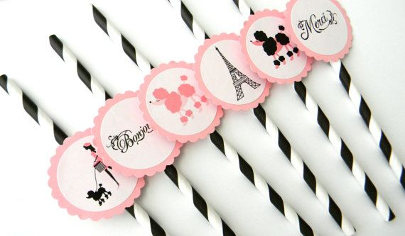 12 Paris Theme Party Straws by thepartypenguin on Etsy, $14.00