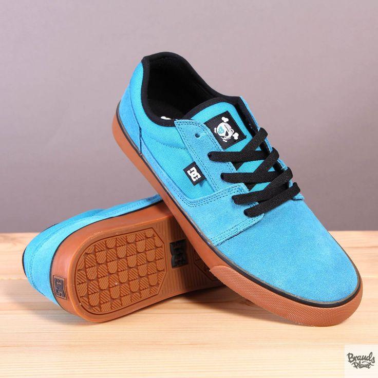Niebieskie męskie buty sportowe na brązowej podeszwie DC Tonik KB Cyan / Black  / www.brandsplanet.pl / #dc shoes #ken block