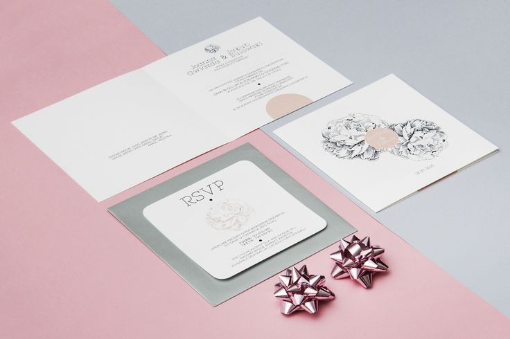 Zaproszenia ślubne z motywem kwiatu peonii
