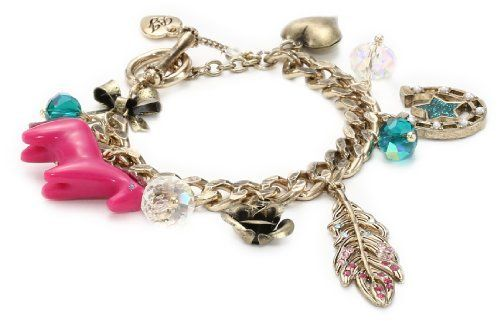 """Betsey Johnson """"Flights of Fancy"""" Feather Multi-Charm Toggle Bracelet Betsey Johnson. $45.88. Gold tone horse shoe with blue glitter star detail, gold tone rose and bubble heart, clear and green faceted cherry beads. Made in CN. Made in China. Save 29% Off!"""