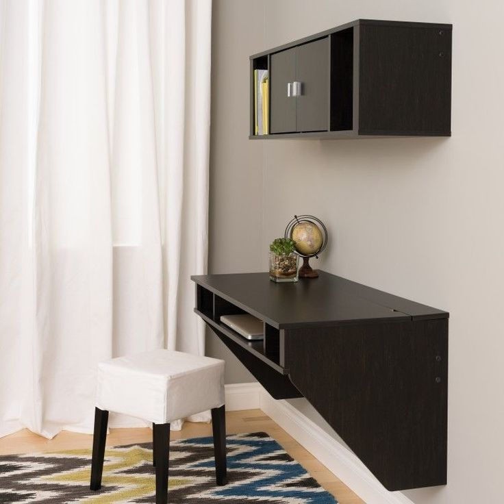 Computer Desk And Hutch Set Black Wall Mount Floating Office Furniture Student