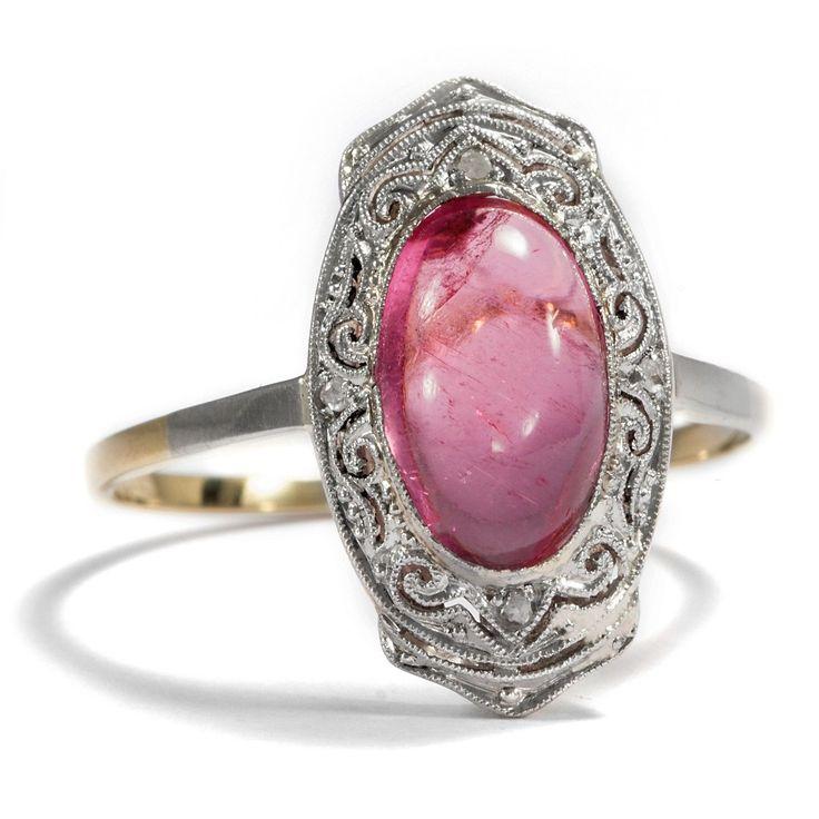 Art Déco um 1925: Feiner Ring mit rosa Turmalin & Diamanten in 585 Gold & Platin | eBay